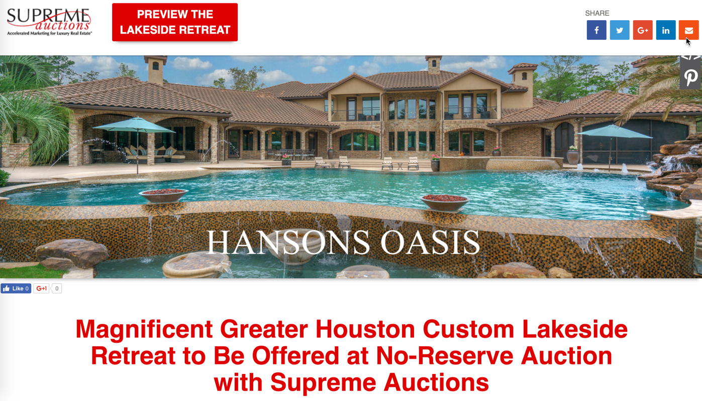 North Houston Texas Estate for Sale with Private Lake
